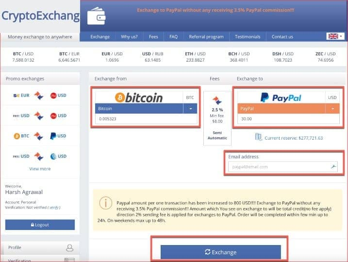 exchange btc to paypal